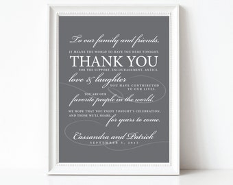 wedding thank you sign, wedding thank you, elegant, modern, thank you card, thank you sign, wedding favor, PRINTABLE or PRINTED CARDS