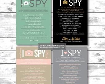 I Spy, Wedding I Spy, Wedding Game, photo hunt, camera, photos, social media, hashtag, table numbers, photo game, PRINTABLE or PRINTED CARDS