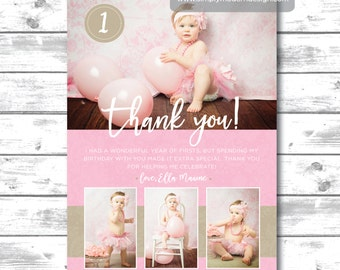 kids birthday thank you card, lace, girl's birthday thank you, baby girl, birthday party, PRINTABLE
