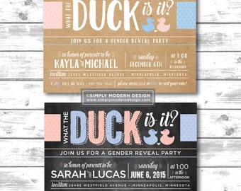 what the duck, chalkboard, gender reveal party invitation, duck gender reveal, rustic, gender reveal party, PRINTABLE or PRINTED INVITATIONS