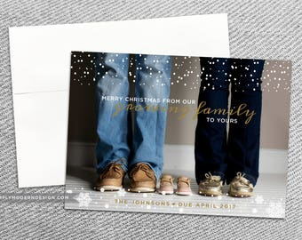 holiday card, christmas card, growing family, pregnancy, pregnancy announcement, winter, we're expecting, PRINTABLE or PRINTED CARDS