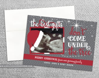 pregnancy announcement, holiday card, christmas card, new baby, the best gifts don't come under the tree, PRINTABLE or PRINTED CARDS