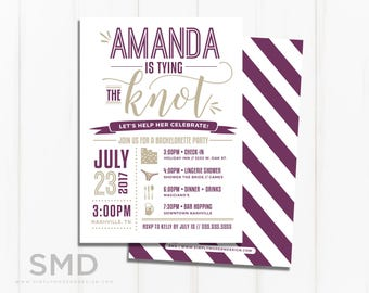 bachelorette party invitation, timeline, itinerary, tying the knot, bride to be, bridal shower invitation, PRINTABLE or PRINTED INVITES