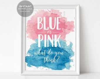 blue or pink watercolor, gender reveal sign, what do you think, gender reveal party, party decor, sign, baby shower sign, printable