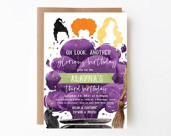 halloween birthday invitation, hocus, witches birthday invitation, editable invitation, pocus, witch birthday, instant download, HCPS
