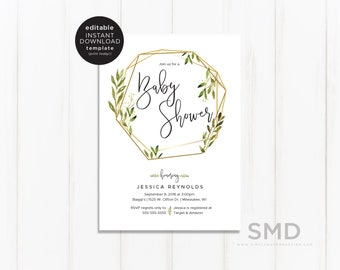 Printable baby shower invitation etsy greenery baby shower invitation template editable printable baby shower invitation minimalist geometric plants instant download gvwl filmwisefo