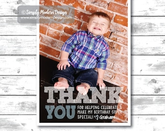kids birthday thank you card, thank you, guest thank you, birthday party, birthday card, PRINTABLE or PRINTED CARDS