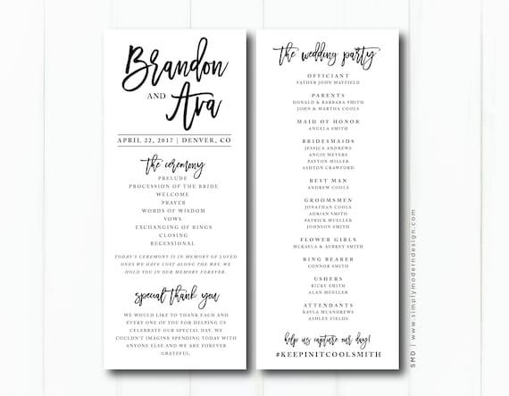 modern wedding ceremony program wedding party wedding etsy