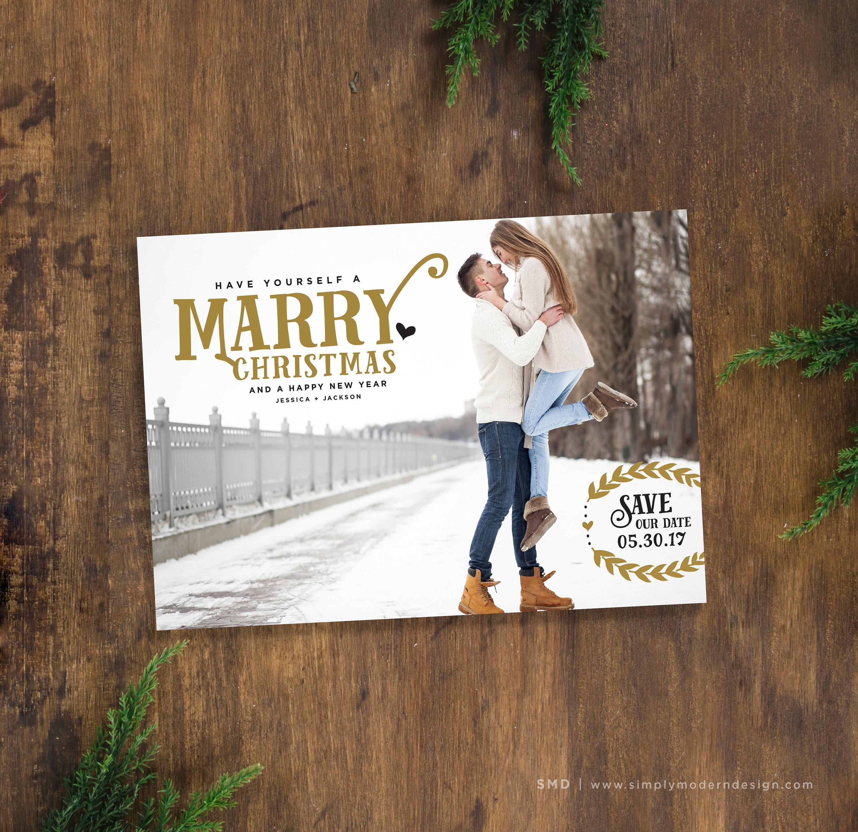 save the date christmas card marry christmas holiday save