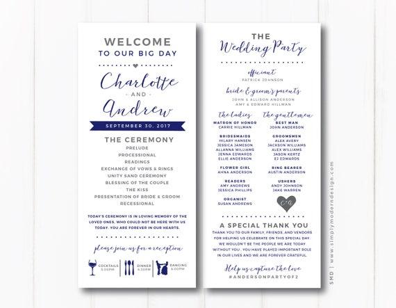 Wedding Program Ceremony Fun Unique Modern Reception Etsy