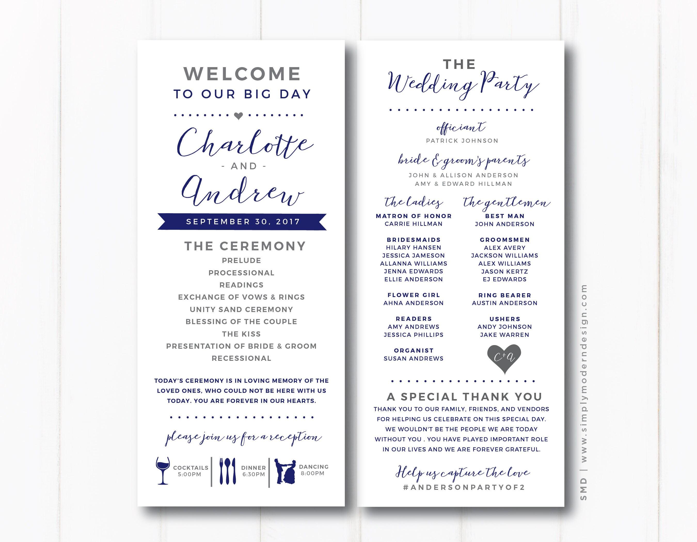 Unique Wedding Reception Program Ideas: Wedding Program Ceremony Fun Unique Modern Reception