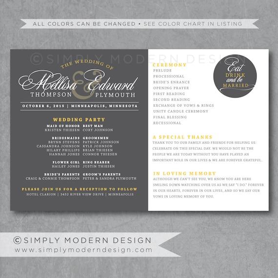 Elegant Modern Ceremony Program Reception Program Bridal Etsy
