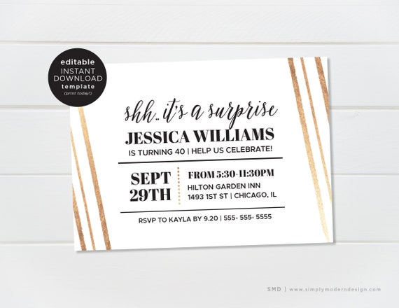 editable surprise party invitation template surprise etsy