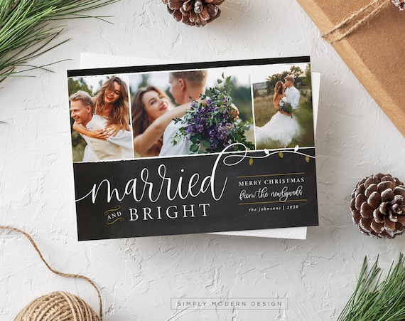 Holiday Wedding Love Light DIY PDF or Printed Cards Christmas Chalkboard Winter New Years Eve Photo Save the Date Card