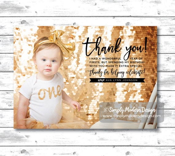 Kids Birthday Thank You Card Bridal Shower Thank You Etsy