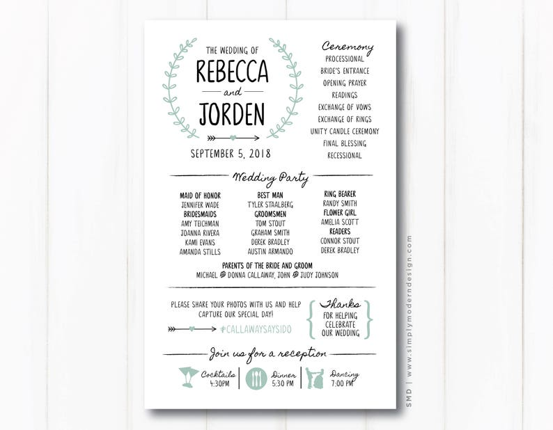 Wedding Ceremony Programs.Rustic Wedding Ceremony Program Modern Fun Wedding Programs Itinerary Timeline Reception Sign Printable Or Printed Programs