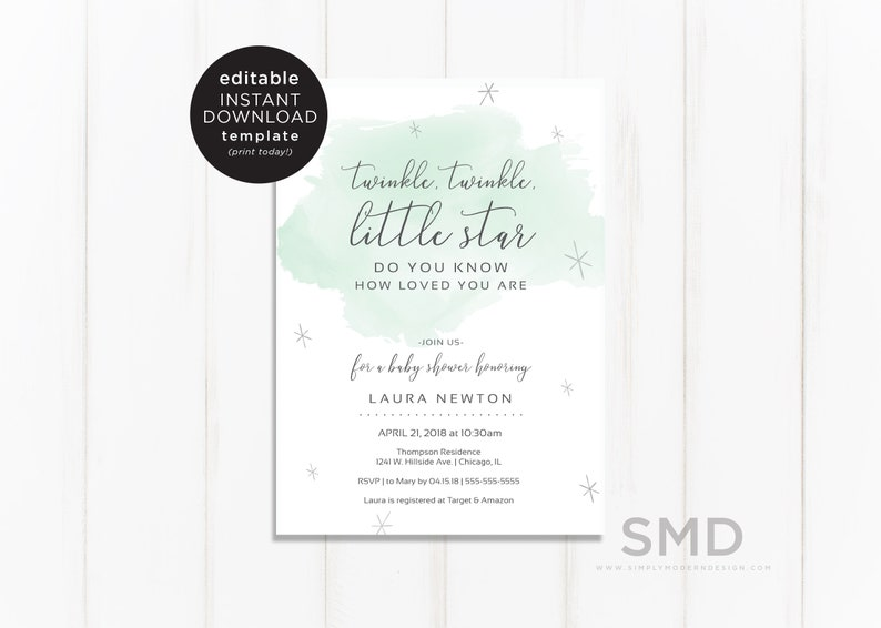 Editable Baby Shower Invitation Template Twinkle Little Star Green Watercolor Printable Invite Instant Download