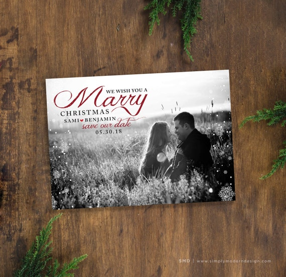 Christmas Save The Date Cards.Save The Date Christmas Card Marry Christmas Save Our Date Card Invitation Christmas Wedding Invitation Printable Or Printed Cards