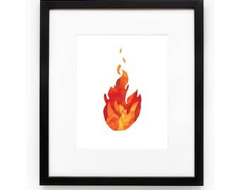 Fire Art Print, Fire Illustration