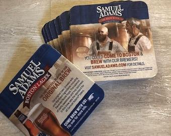 Set of 10 Sam Adams beer coasters