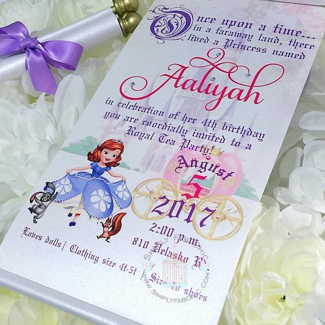 Sofia The First Royal Disney Princess Scroll Invitation Birthday Wedding Handmade