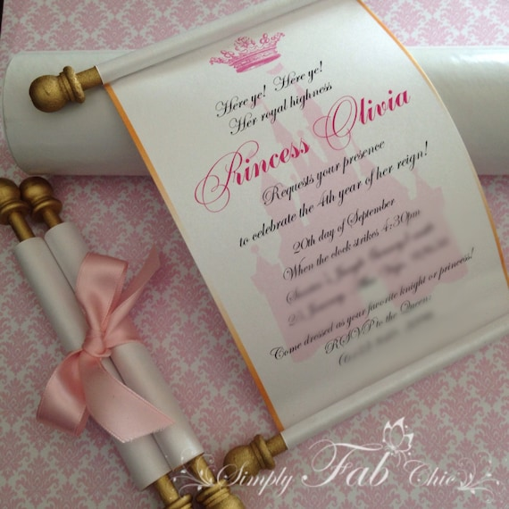 Royal Disney Princess Scroll Invitation Birthday Wedding Etsy