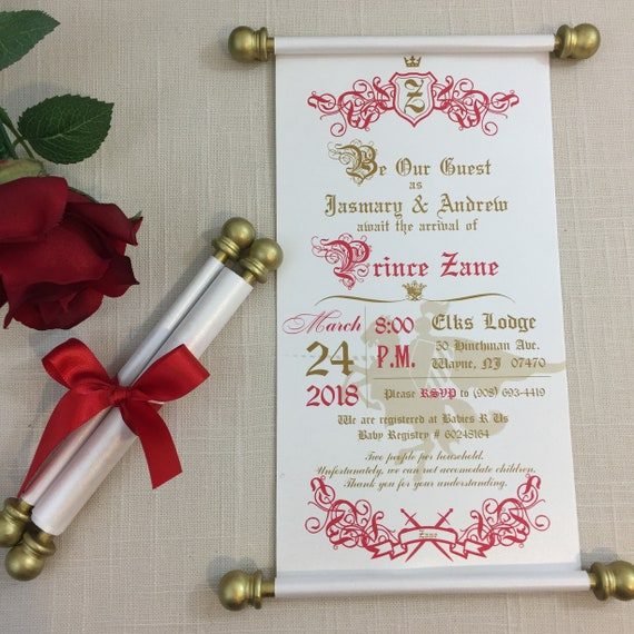 Prince baby shower scroll invitation set of 10 red gold etsy image 0 filmwisefo