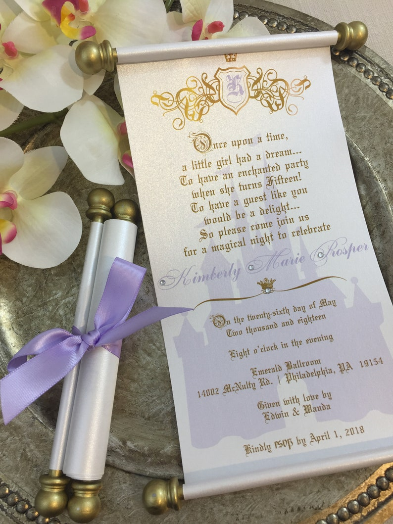 Princess Sweet 16 Lavender Gold Scroll Set Of 10 Wedding Etsy