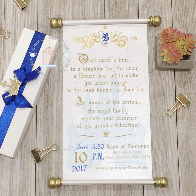 Little prince royal baby shower scroll invitation in royal etsy image 0 filmwisefo