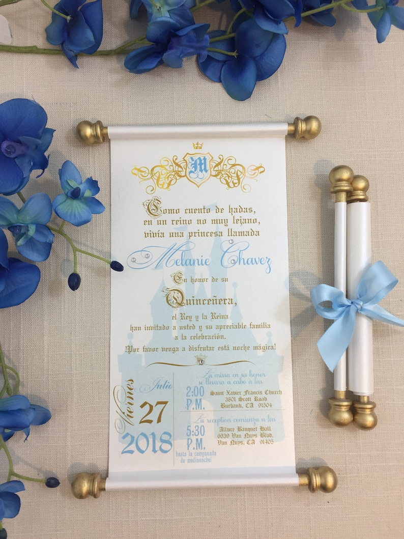 Princess Sweet 16th Birthday Scroll Invitation In Spanish