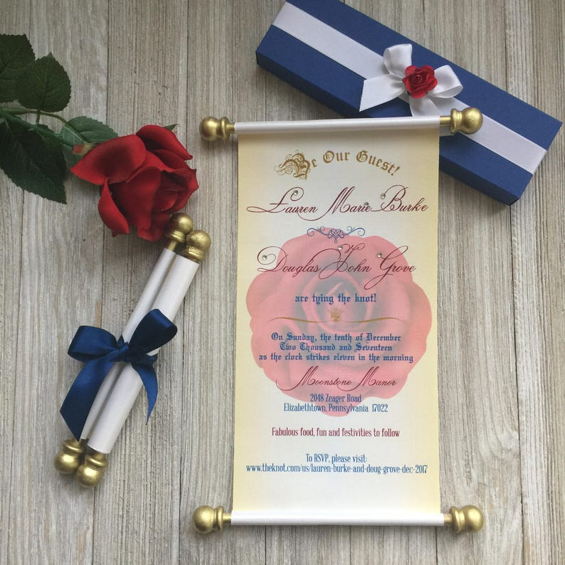 Beauty And The Beast Wedding Scroll Invitation Birthday Handmade Sweet 16 Quinceanera Set Of 10