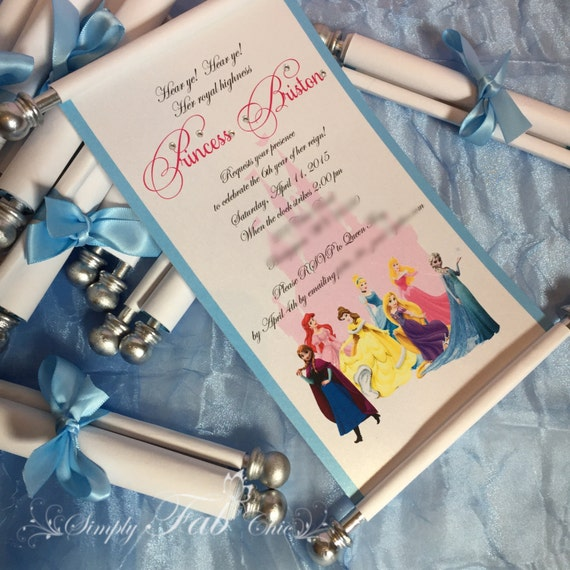 Disney Princess Scroll Invitation Birthday Invitation Handmade Etsy