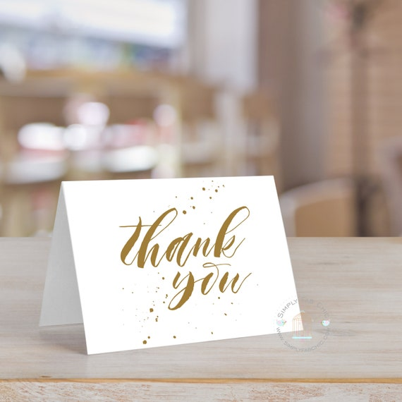 Handwritten Thank You Card Set Of 10 Gold Tone Color Wedding Etsy