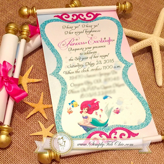 Little Mermaid Royal Disney Princess Scroll Invitation Min Etsy