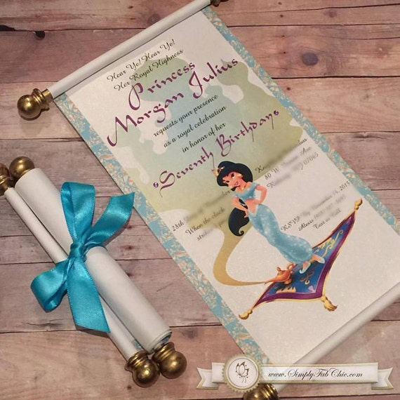 Disney Princess Jasmine Scroll Invitation Aladdin Birthday Etsy