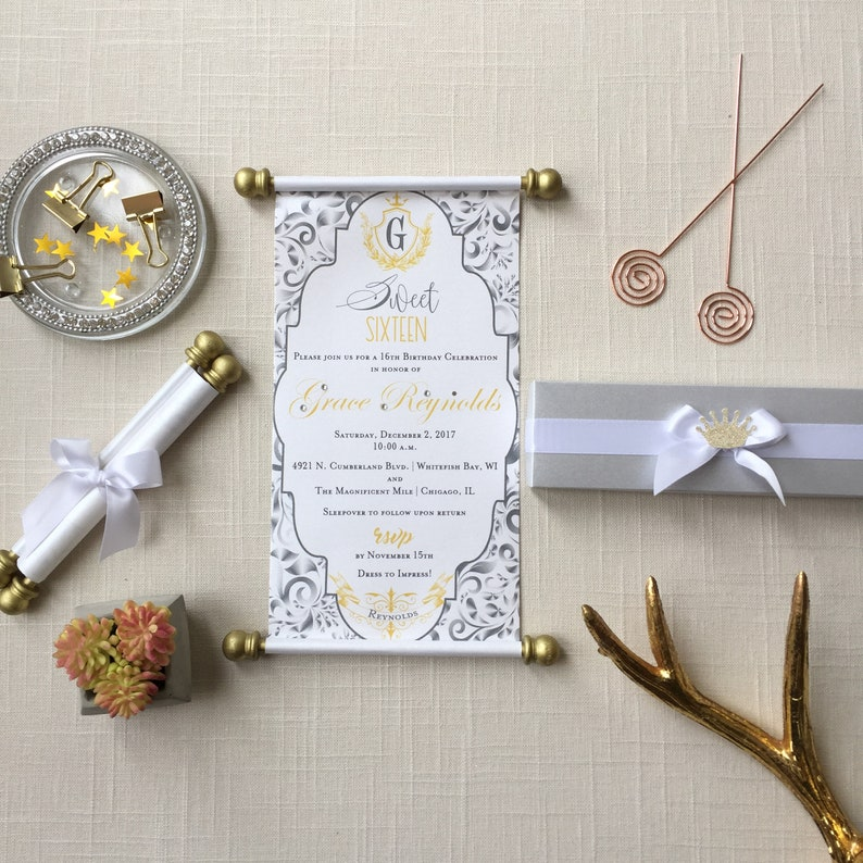 Princess Sweet 16 Scroll Invitation Silver Grey Gold Set Of Etsy