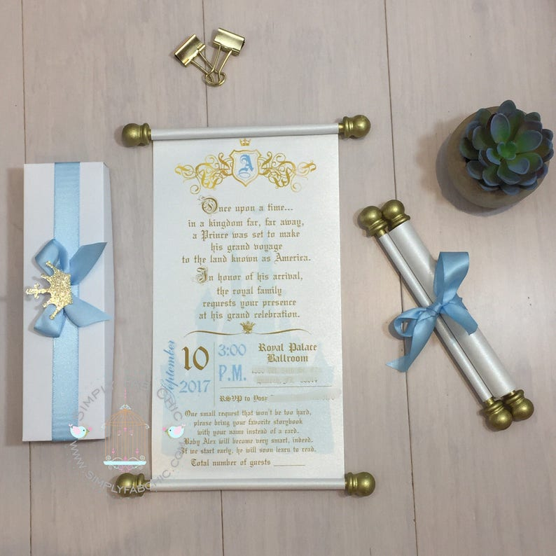 Light Blue Prince Scroll Invitation Birthday Wedding Handmade Sweet 16 Quinceanera Set Of 10