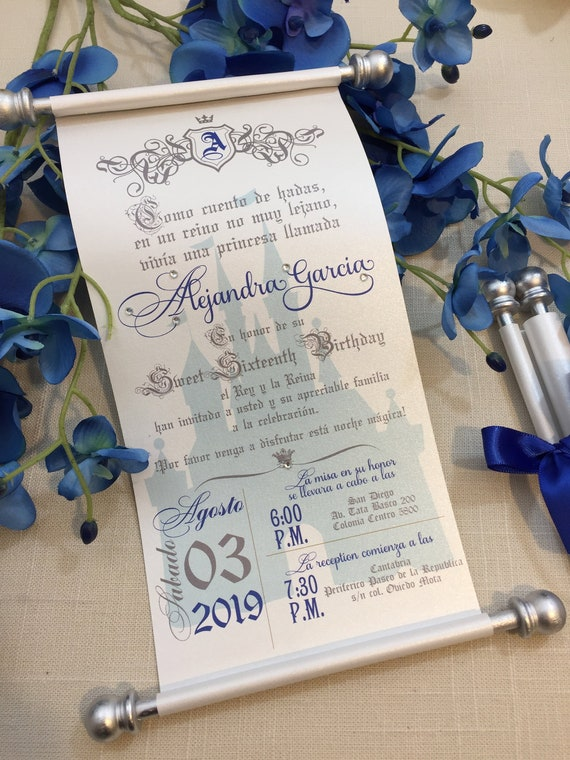 Royal Silver Blue Sweet 16th Birthday Scroll Invitation Cinderella Inspired Unique Quinceanera