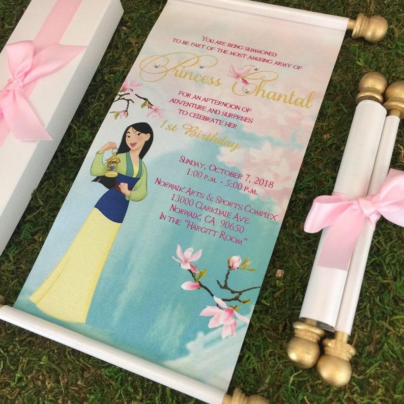 Mulan Royal Princess Birthday Scroll Invitation
