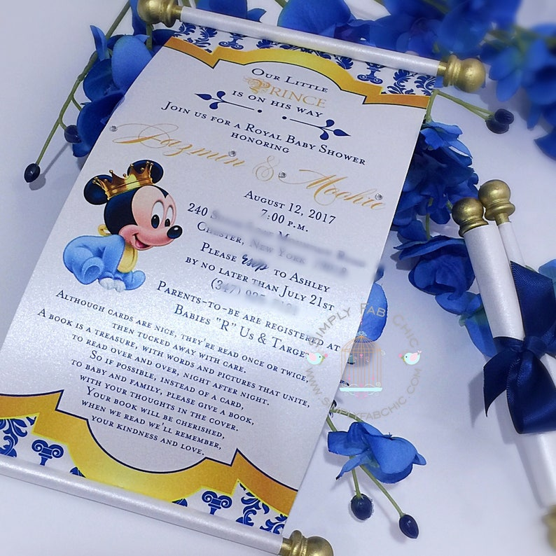 Royal Prince Baby Mickey Mouse Princess Scroll Invitation Birthday Wedding Handmade Personalized