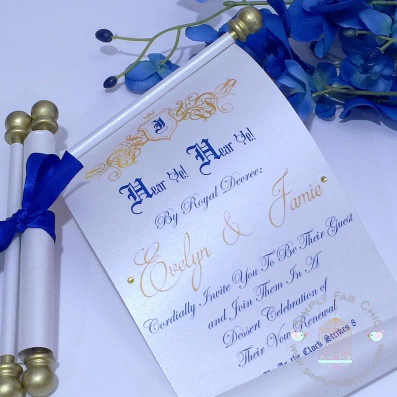 Royal Wedding Scroll Wedding Invitation Vow Renewal Etsy