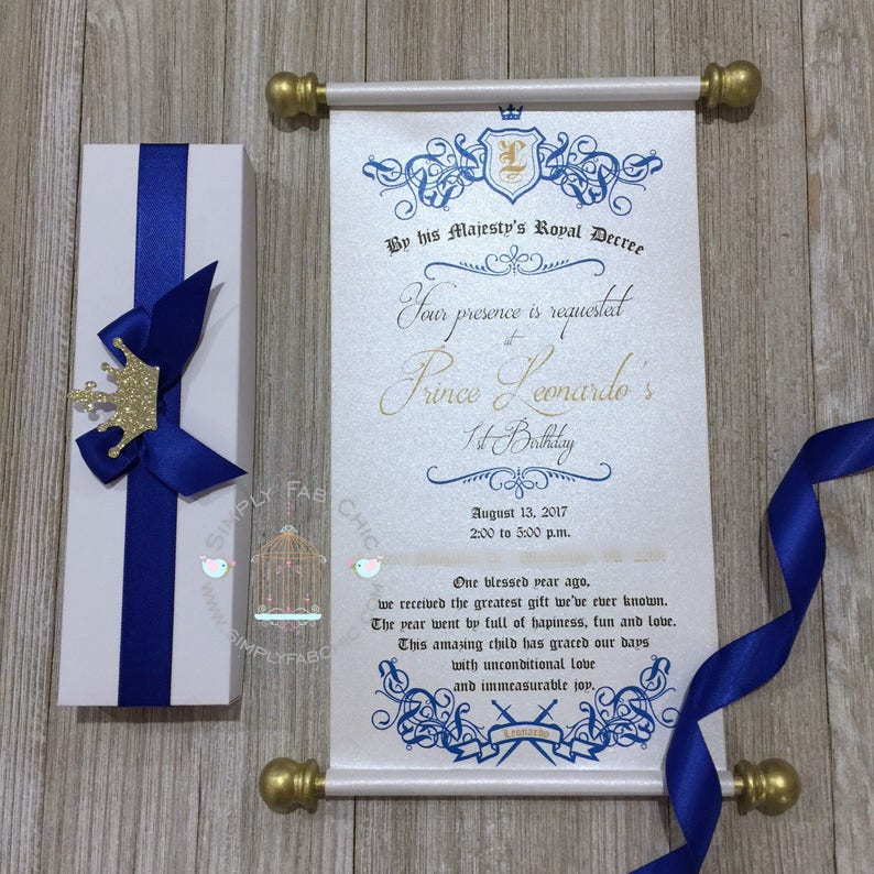 Royal Blue Prince Scroll Invitation Birthday Wedding Handmade Sweet 16 Quinceanera Set Of 10