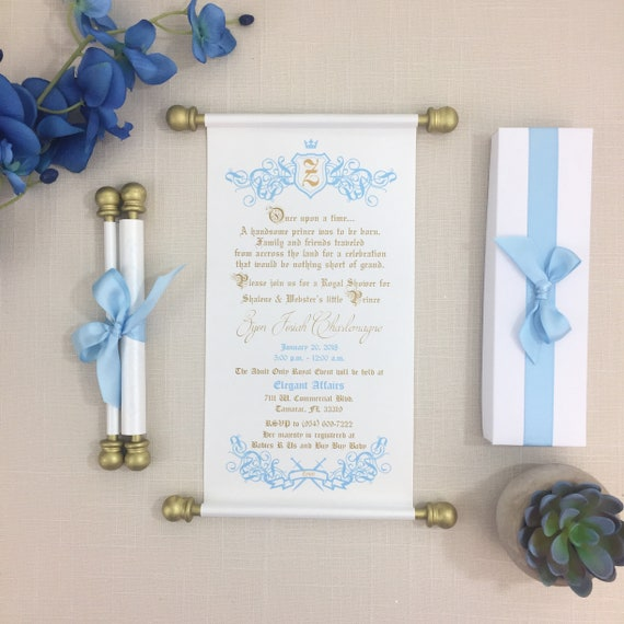 Royal prince baby shower scroll invitation light blue white etsy image 0 filmwisefo