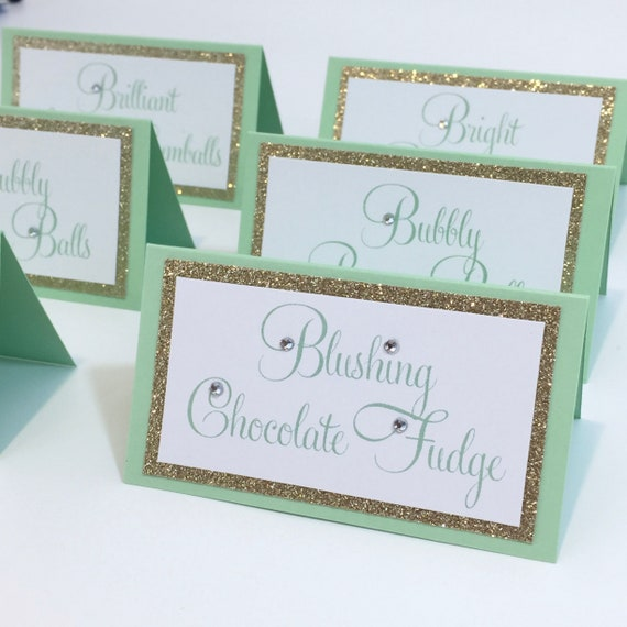 Mint Gold Glitter Bling Place Card Food Tented Place Cards, Escort Cards, Name Cards, Wedding, Baby Shower, Birthday