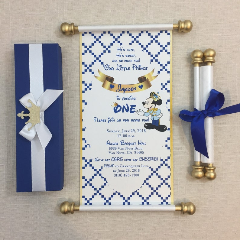 Royal Prince Mickey Scroll Invitation Birthday Wedding Handmade Personalized Christening Birth Annoucement