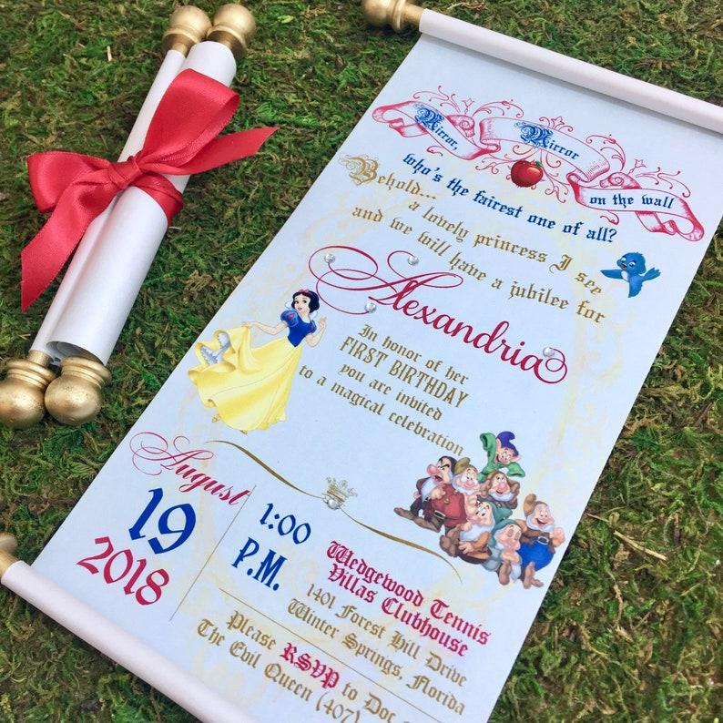 Disney Weddin Snow White Scroll Wedding Invitation Birthday Handmade 7 Dwarfs Invitation