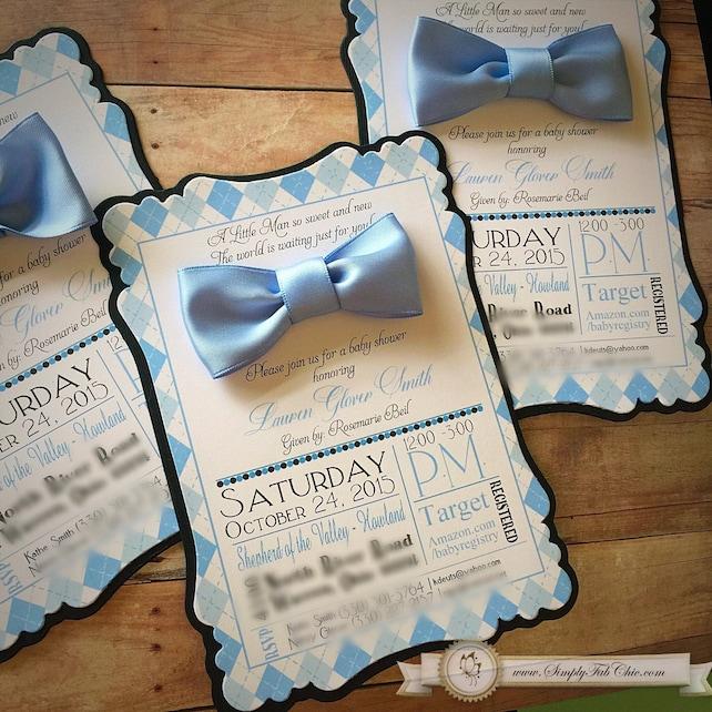 Little Man Mustache Bow Tie Set Of 10 Custom Handmade Invitation Baby Shower First 1st Birthday