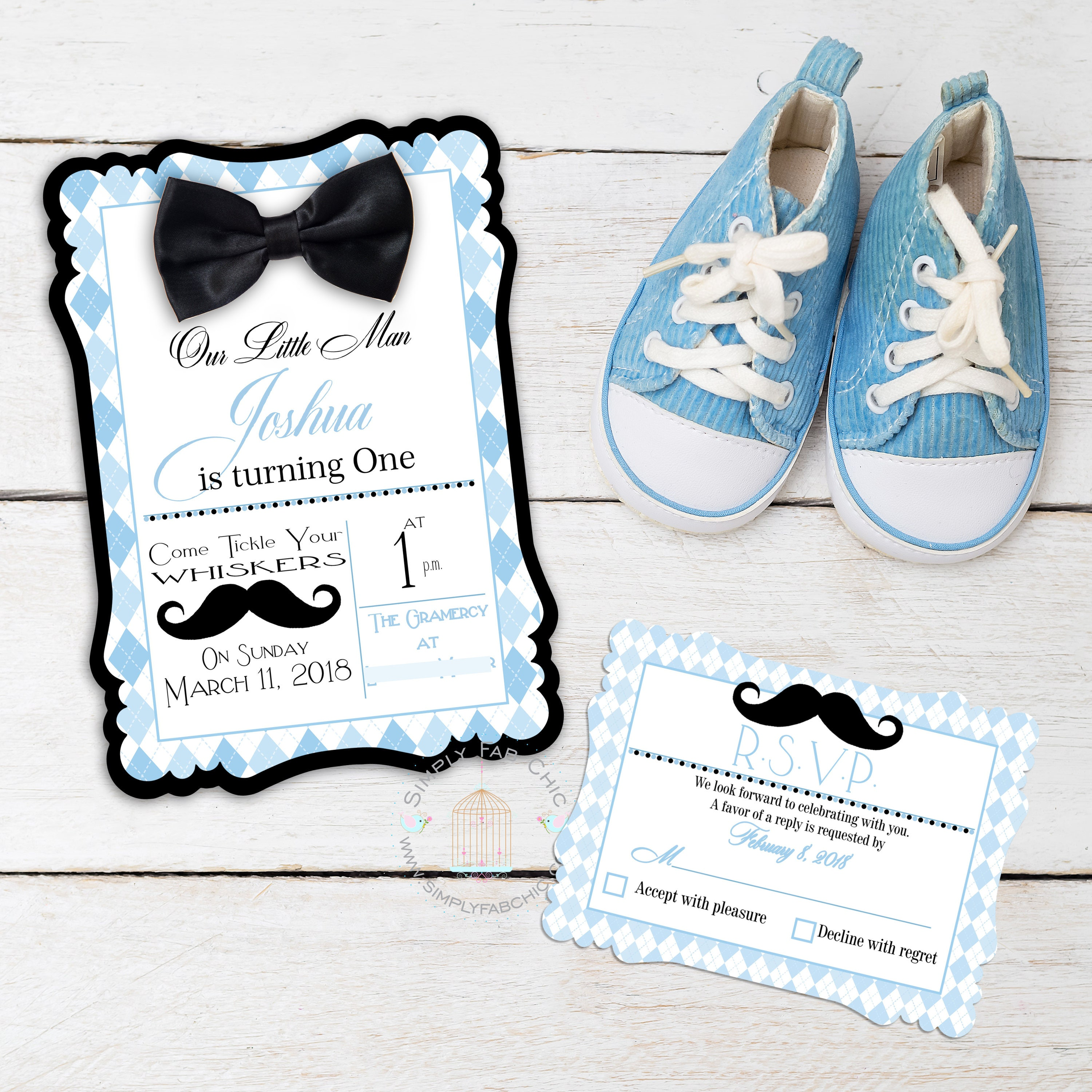 Little Man Gentleman Mustache and Bow Tie Baby First Birthday | Etsy