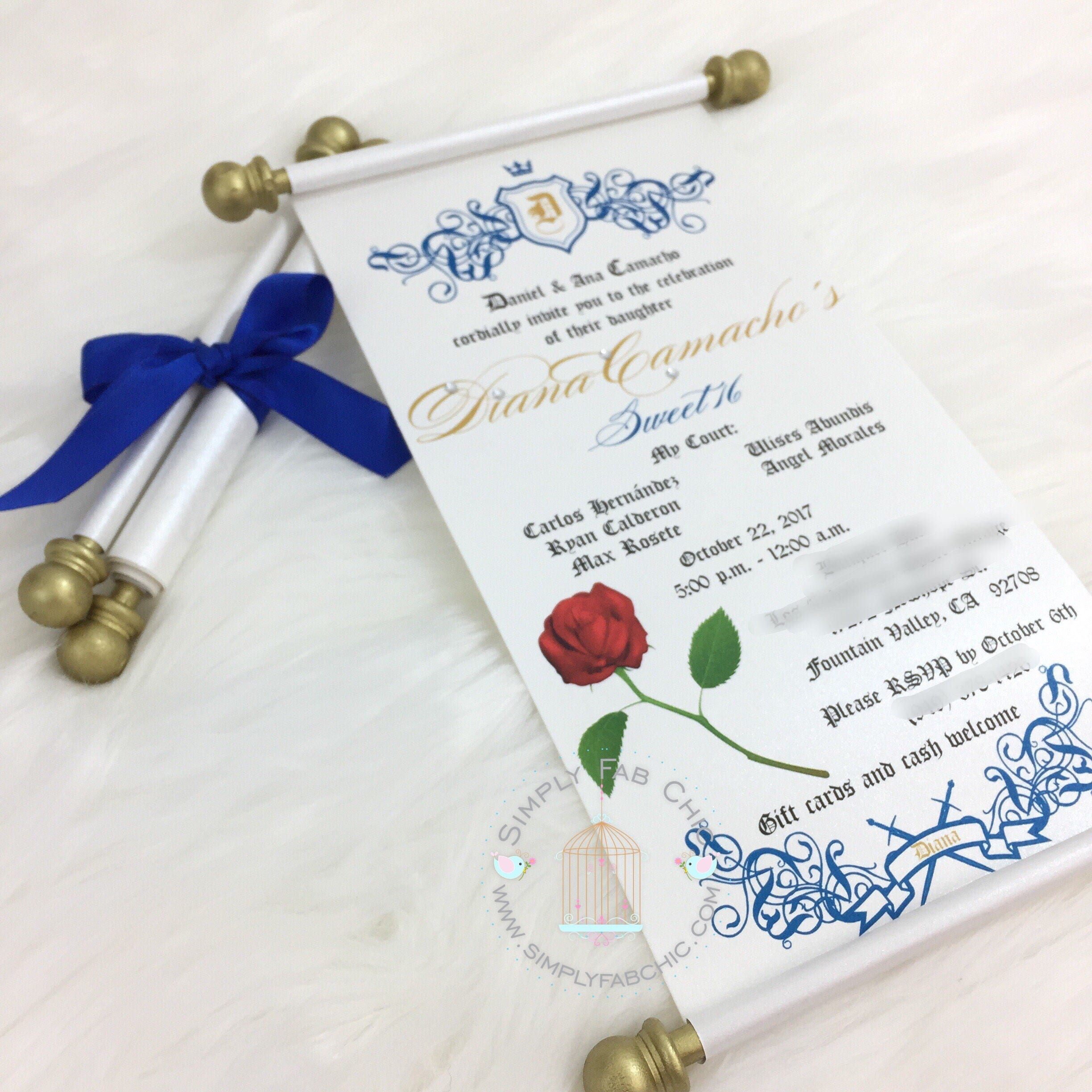 Beauty And The Beast Scroll Invitation Birthday Wedding Handmade Sweet 16 Quinceanera Set Of 10