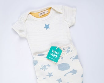 Veoveo Waves of Love - Set - Waves Body + Species Trouser - Clean Seas - Baby Body - Baby set - Baby Clothes - Slow Fashion